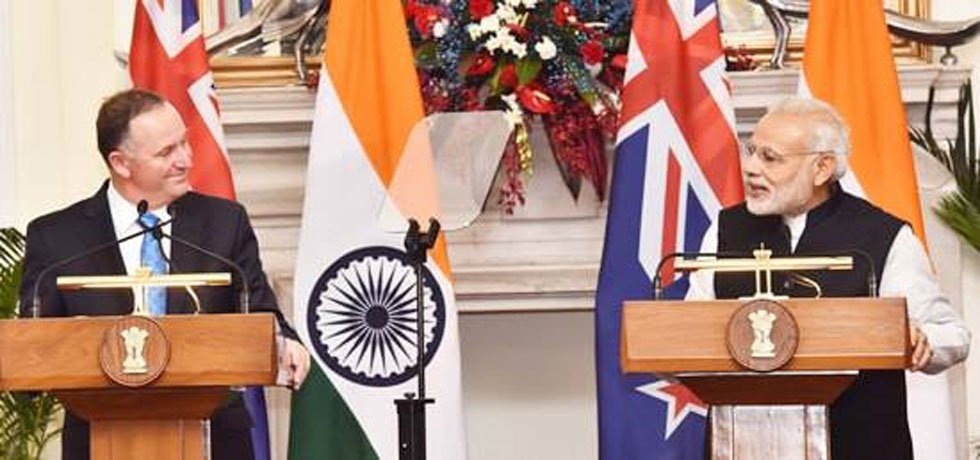 H.E. Mr. Narendra Modi, Hon. PM of India and H.E. Rt. Hon. John Key, PM of New Zealand during bilateral visit to India in October 2016