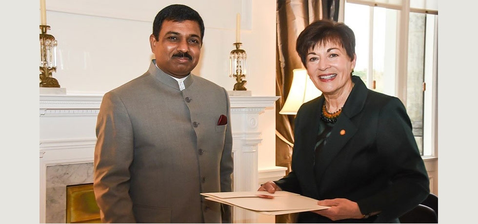 Presentation of Credentials by High Commissioner Mr. Muktesh K Pardeshi to H. E. Rt. Hon. Dame Patsy Reddy, Governor General of New Zealand at Government House, Wellington on 30 July 2019.