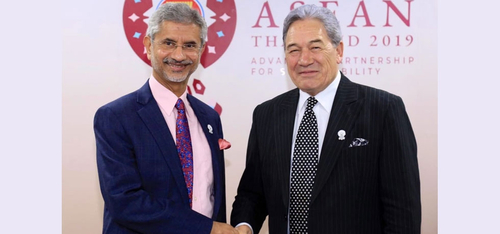 Meeting between H.E. Dr. S.Jaishankar, Hon. External Affairs Minister and H.E. Rt. Hon. Winston Peters, Dy. PM/Minister of Forein Affairs of New Zealand on 2 August 2019 at Bangkok