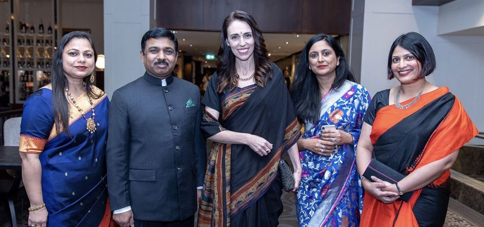 High Commissioner with Rt Hon Jacinda Ardern, Prime Minister of New Zealand during Kiwi Indian Hall of Fame Awards 2019 in Auckland