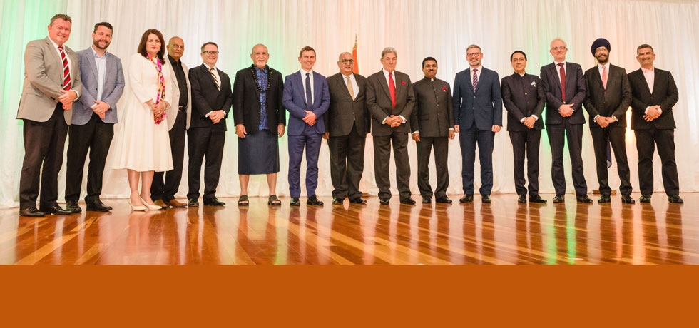 High Commissioner Mr. Muktesh K. Pardeshi with distinguished guests at National Day Reception held on 27 January 2020 in Wellington.