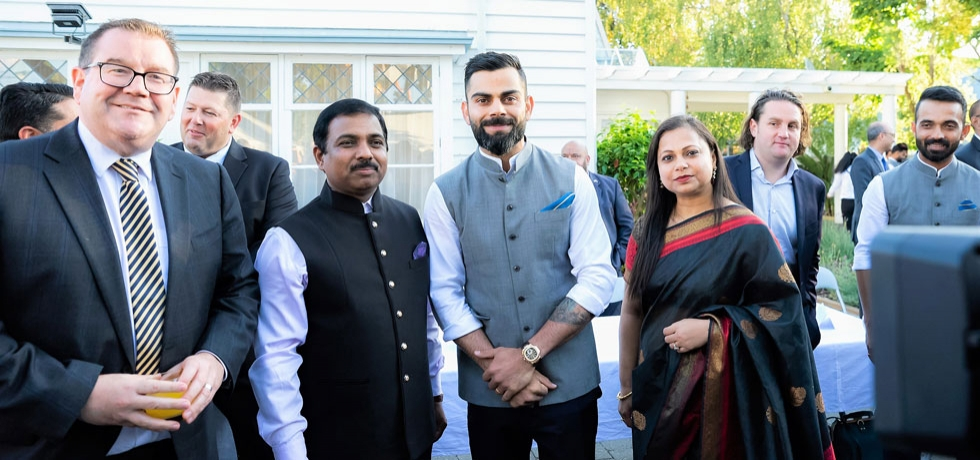 NZ Minister of Sport & Recreation Hon. Grant Robertson at a Reception hosted by High Commissioner Mr. Muktesh K. Pardeshi at India House in the honour of visiting Indian Cricket Team led by Shri Virat Kohli, 19 February 2020.