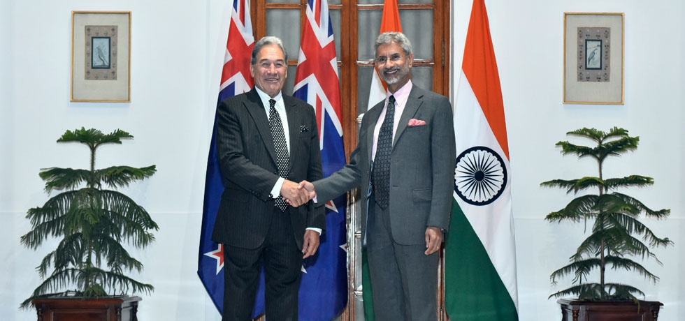 Dr. S. Jaishankar, External Affairs Minister of India meets Rt. Hon. Winston Peters, Deputy Prime Minister and Minister of Foreign Affairs of New Zealand at Hyderabad House, New Delhi, 26 Feb 2020.