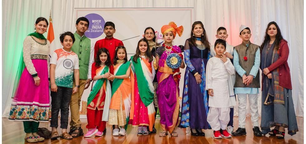 The students of Wellington Hindi School presented a skit on 75 years of India's Independence (Azadi Ka Amrit Mahotsav) on 15th August 2021 at Bharat Bhavan, Wellington.
